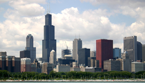 Loop skyline from the east, Chicago, IL, USA - Taken by J. Crocker - July 14, 2004